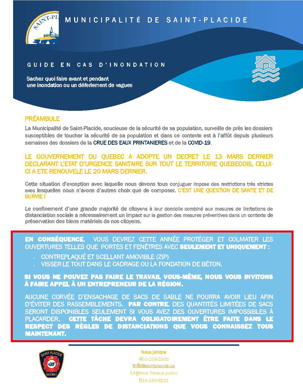 Document De Prevention 2020 Municipalite De Saint Placide